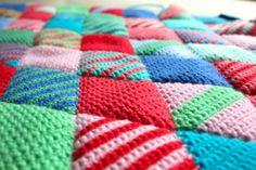 little woollie: Diamond crochet progress...Diamonds stitched together.