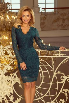 Green Lace Dress With Long Sleeves And Neckline Green Lace Dresses, Elegant Dresses, Green Dress, Dress To Party, Cocktail Dresses With Sleeves, Long Sleeve Mini Dress, Modern Outfits, Women's Fashion Dresses, Ideias Fashion