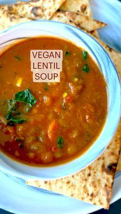 Healthy Lentil Soup, Vegan Lentil Recipes, Easy Vegan Soup, Vegan Dinner Recipes, Vegan Foods, Vegan Dishes, Veggie Recipes, Soup Recipes, Vegetarian Recipes