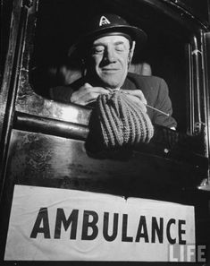English Ambulance driver knitting, #WWII. http://judyweightman.wordpress.com/2012/10/09/more-knitting-history-world-war-ii/