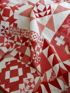 Red & White Moda Building Blocks Quilt at A Quilting Life