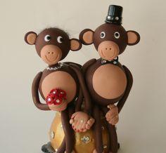 Monkey Wedding Cake Topper Mod Style 6 inch by SpiritMama on Etsy, $195.00