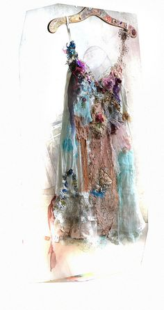 Unique Art To Wear White/Pale Turquise Tunic BLUE by Paulina722, $358.00