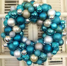 Teal and Silver Christmas Ornament Wreath  by MemphisMomWreaths, $65.00