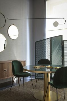 dark green chairs - Spotti Showroom, Milan, Italy - The Cool Hunter