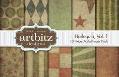 Harlequin V1 Digital Paper by ArtBitz on @creativemarket
