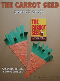 The Carrot Seed Carrot Craft - A fun activity to go along with the timeless book The Carrot Seed by Ruth Krauss. #preschool #prek #kindergarten #homeschool #prekactivities #preschoolactivities #kidsactivities #thecarrotseed #literacy #artsandcrafts #art #spring #childrensbook #booktivities #inmygarden