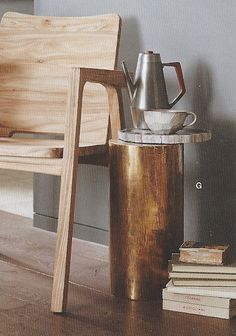 Roost Brass Clad Column Side Table