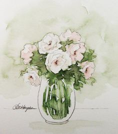 Pink and White Roses Original Watercolor Painting Flowers Floral