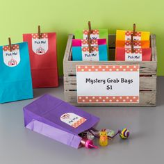 Simple-to-make Mystery Grab Bags are great idea for fundraisers. We filled the bags with dollar-store toys, added a personalized Avery Arched Label (22819) and sealed with a mini clothespin for a fun effect.