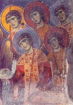 Angels' gathering. Fresco (detail from the scene of the Dormition of Virgin Mary). 1st half of the 13th c. Panayia Mavriotissa church, Kastoria, Greece.
