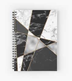 'Black White and Gold Stylish Elegant Girly Marble Pattern' Spiral Notebook by Quaintrelle Trending Christmas Gifts, Christmas Gifts For Women, Gifts For Teens, Cute Notebooks For School, Diy Notebook Cover For School, College Notebook, School Diary, School Suplies, Stationary School