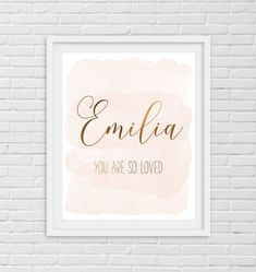 Nursery Name, You Are So Loved, Nursery Decor Girl, Custom Print by LilaPrints. Girls Room Wall Art, Baby Girl Nursery, Baby Shower Gift Baby Girl Bedroom. Perfect artwork for the nursery decor. Modern, chic, sophisticated. #printable #wallpainting #homedecorideas #homedecorating