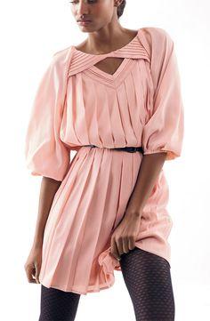 Jessica Simpson Pleated Crêpe de Chine Blouson Dress #Nordstrom #AugustCatalog