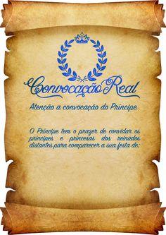 Convite Pergaminho Coroa de Príncipe Azul