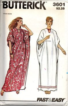 Butterick 3601 1970s Fast and Easy Pullover Maxi CAFTAN Pattern Dolman sleeve womens vintage sewing patterns by mbchills