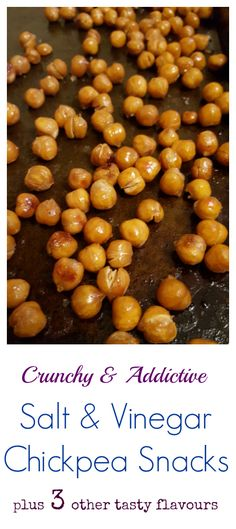 Tasty, crunchy and addictive, these easy to make roasted chickpeas are taken to another level with salt and vinegar. You'll want to make more than just one batch for snacking or even adding to salads. Best of all? This /search/?q=%23recipe&rs=hashtag is /search/?q=%23vegan&rs=hashtag & /explore/glutenfree/