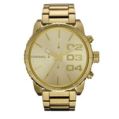 diesel men watch dz4268 double down gold tone stainless steel chronograph Best selling.  This striking Mens Diesel watch is from the XL Franchise collection. It is made from PVD gold-plate and has a large case at around 52mm wide. The model features a champagne coloured dial with gold baton hour markers, gold hands and three stand out numeral hour markers. This watch also features chronograph function and is water-resistant.