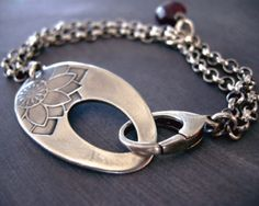 Floral Printed Clasp Bracelet by Julie Ashton - A simple and elegant clasp is the focal point of this bracelet. Created in fine silver with sterling silver chain and logster clasp.