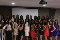 A great bunch of vibrant girls all set to compete for the finals — at Times Tower.