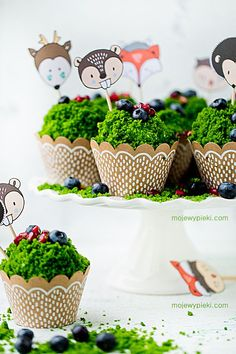 Muffins Forest Moss My pastries Woodland Theme Cake, Mini Cakes, Baby Shower Cakes, Themed Cakes, Food Dishes, Cake Recipes, Birthday Parties, Sweet Treats, Food And Drink