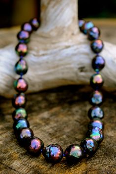 stunny back baroque pearl necklace, large kasumi pearl necklace, gorgeous midnight rainbow back pearls, jade clasp by FreshwaterCreation on Etsy