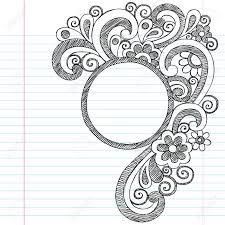 Circle picture frame border back to school sketchy notebook doodles- vector illustration design on lined Circle Doodles, Notebook Doodles, Doodle Art Journals, Flower Doodles, Journaling, Stencil Decor, Doodle Frames, Unicorn Pictures, Fancy Letters