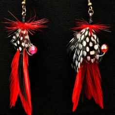 Feather Fishing Lure Earrings, Black and Red, $15.00