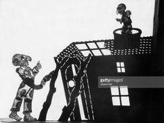 Greek shadow-puppet theatre 'Karagiozis', Characters: Figuren Karagiozis and Kolitiris (from left), Photographer Walter Hege, 1934