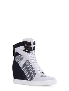 """Casadei - Sneaker - 0181DS....T316N36 - Sneaker versatile in patchwork di camoscio bianco e morbida nappa nera con inserti in rete trasparente effetto alveare. Chiusure in velcro nella parte superiore. Chiusura a zip posteriore in metallo color oro. Allacciatura in pelle bianca. Linguetta imbottita. Fondo in gomma con iconica decorazione """"catena"""". Zeppa interna. 80 mm. Camoscio, Nappa, Rete Trasparente Effetto Alveare Made in Italy"""