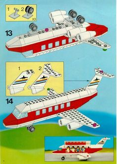 Thousands of complete step-by-step printable older LEGO® instructions for free. Here you can find step by step instructions for most LEGO® sets. Lego Airport, Lego Plane, Lego Duplo, Lego Moc, Manual Lego, Notice Lego, Legos, Avion Lego, Lego Creations Instructions