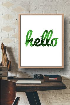 Hello printable,Hello,Instant download,Printable quote,Cactus home decor,Mid-century printable,humorous artwork,Office decor,Wall home decor by Paffle