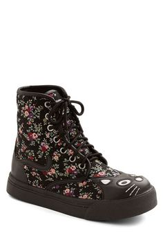 Hightail It Boot in Floral - Faux Leather, Woven, Low, Black, Multi, Floral, Print with Animals, Kawaii, Critters, Better, Lace Up, Casual, ...