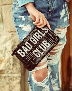 CLOSE UP #badgirlsclub #pochette #full #paillettes #destroyed #denim #shopart #detailoftheday #springsummer17 #collection