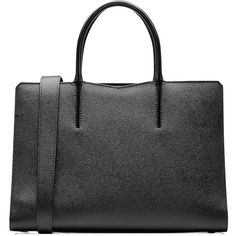 Valextra Leather Tote ($1,890) ❤ liked on Polyvore featuring bags, handbags, tote bags, black, zippered tote bag, zip tote, handbags totes, zippered tote and zip tote bag