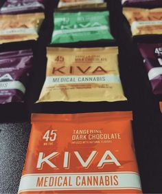 We have Kiva bites for your delight!  These 45mg chocolate edibles are definitely a favorite here at GNC! They come in tangerine dark chocolate, mint Irish cream dark chocolate, vanilla chai milk chocolate, and blackberry dark chocolate! You can also get a 15mg milk or dark chocolate Kiva bite as a free gift with a donation over $50!  #thedailythc #medicalmarijuana #pharmacutical #medicatedmuch