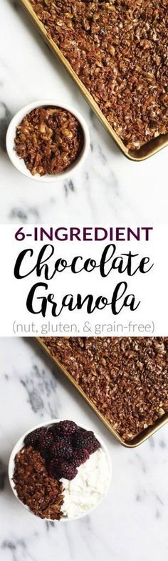 6-ingreident Chocolate Granola. Nut-free, grain-free and super easy to make! No oven needed too!