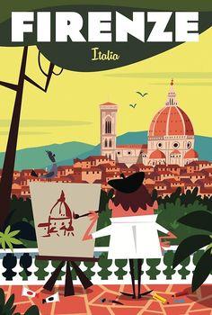 'Affiche Firenze' by Gary Godel Italy Illustration, Travel Illustration, Vintage Travel Posters, Retro Posters, Italy Party, Firenze Italy, Poster Ads, Postcard Design, Boat Design