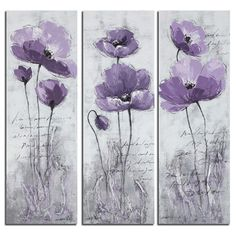 Walmart: Safavieh Poppy 3 Piece Painting Print on Canvas Set Poppy Flower Painting, Acrylic Painting Flowers, Acrylic Wall Art, Abstract Flowers, Flower Art, Painting Abstract, Purple Painting, Abstract Flower Paintings, Flower Prints