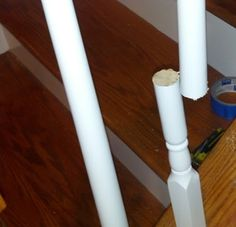 How to replace wood spindles with wrought iron./--want to do this so badly!!!