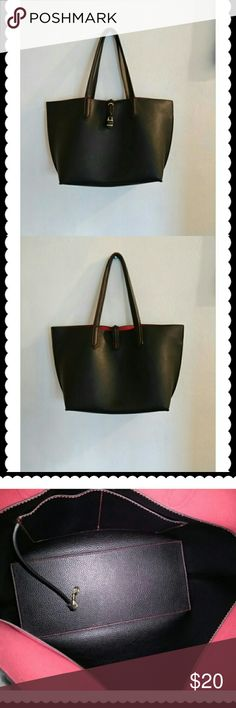 Tutilo  handbag Soft Blk leather outside.  Gently loved..  Very clean.  Picture no 7 straps worn outside and inside. But still very useable..  Hate to keep this in my closet any longer, when it can still be loved. No pouch or key.  Reflects on price. L 19 X H 11 X W 6. Tutilo  Bags Totes