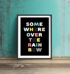 Somewhere Over the rainbow Home Decor Nursery by RockSaltPrints