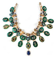 Tony Duquette (American, 1914-1999), 'Symbolizing Beauty from the Sea and the Essence of Nature Regeneration', 1990s. Paua shell A, quartz crystal, zircon, lapis lazuli and vermeil necklace, length 21in (53.4cm). Sold for $ 5.490