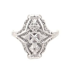 White Gold Ring with Antique Styling - Filigree Ring with Center Diamond - Size 8 Filigree Jewelry, White Gold Jewelry, Filigree Ring, White Gold Rings, Jewellery, Ladies Silver Rings, Diamond Sizes, White Sapphire, Design Elements