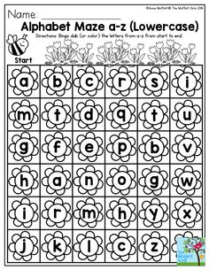 Alphabet Maze a-z (lowercase)- Perfect to help preschoolers practice their alphabet in Spring!