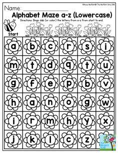 Alphabet Maze a-z (lowercase)- Perfect to help preschoolers practice their alphabet in Spring!