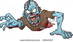 Cartoon crawling zombie. Vector clip art illustration with simple gradients. All in a single layer.  - stock vector
