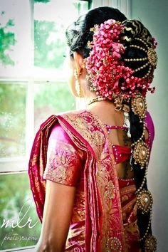 An ellaborate South Indian bridal hair do. #indianwedding