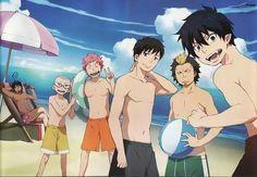 Rin, Yukio, Shima, Konekomaru, Bon, Suguro, Mephisto, beach, swimsuits, water, beach ball, umbrella; Blue Exorcist