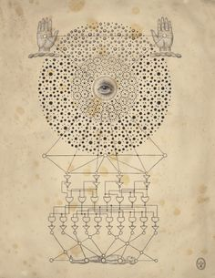 """Soul of Science - Daniel Martin Diaz  In """"Soul of Science,"""" Daniel Martin Diaz examines the mysteries of scientific diagrams, secrets of symbols and their everlasting effect on our psyche. The inspiration for this new body of work comes from the mysteries of consciousness, self-aware systems, philosophy, cellular automata, phase transitions, time travel, and mystical behaviors at atomic and sub-atomic levels."""